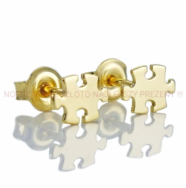 e49525c5217d02 Piękne Złote Kolczyki Puzzle - próba 585 ! NorbiSrebro-Najlepszy Prezent